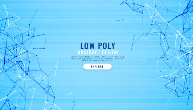 Abstract blue low poly lines digital background Free Vector