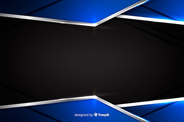 Abstract blue metallic background with reflection Premium Vector