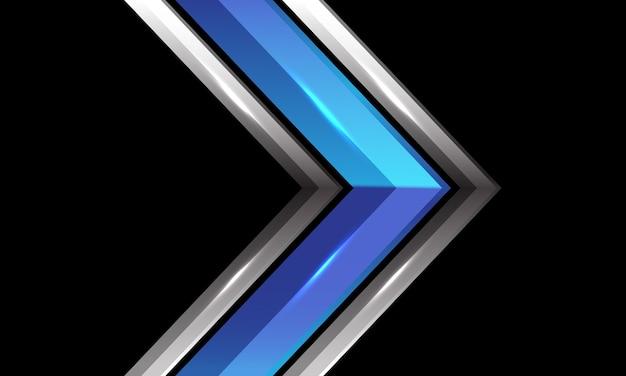 未来的な技術の背景に抽象的な青いメタリックシルバーの光沢のある矢印の方向 Premiumベクター