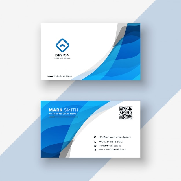 Abstract blue modern business card design Free Vector