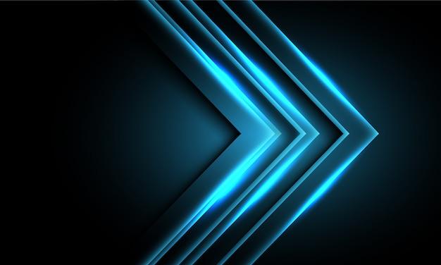 Abstract blue neon light arrow direction on black design modern futuristic technology background. Premium Vector