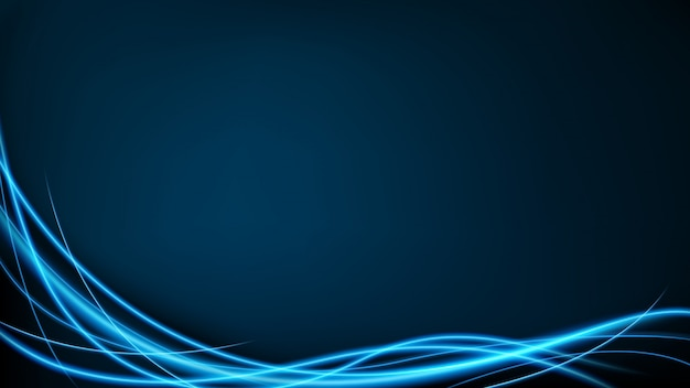 Абстрактный синий неоновый вектор движения Premium векторы