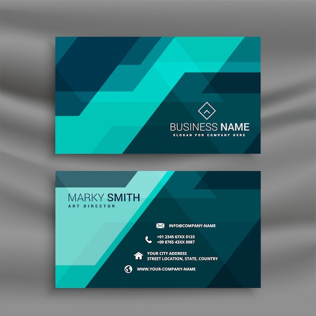 Abstract blue office business card in geometric style Free Vector