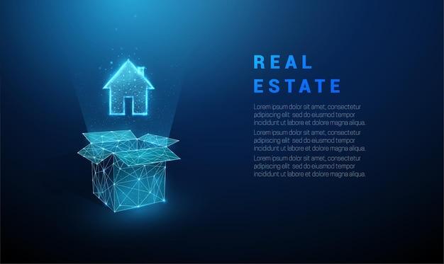 추상 파란색 열기 상자와 집 아이콘입니다. 낮은 폴리 스타일 디자인. 벡터. 프리미엄 벡터