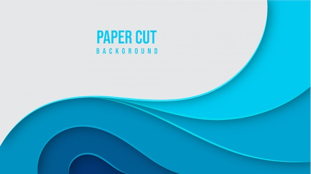Abstract blue paper cut background design Premium Vector