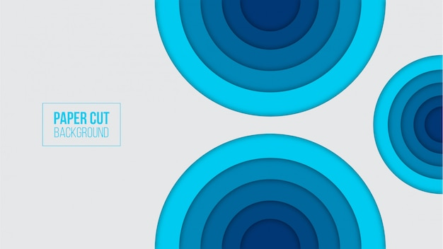 Abstract blue paper cut background Premium Vector
