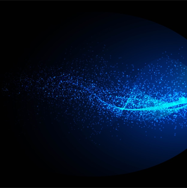 Abstract blue particle wave background Free Vector