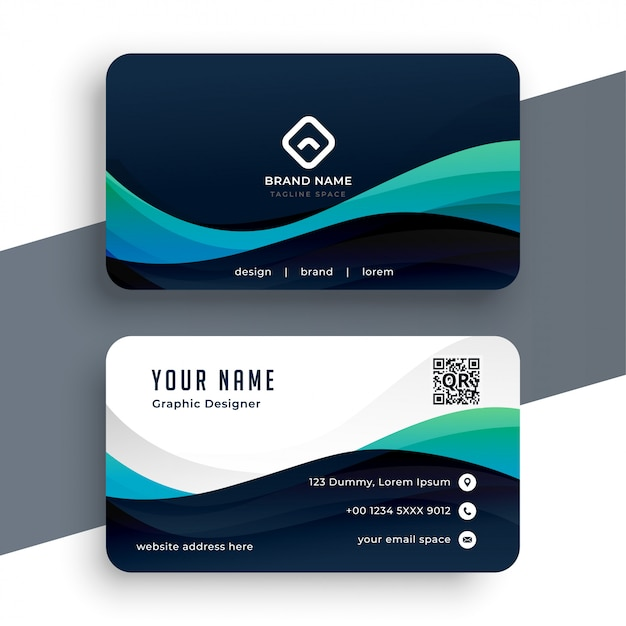 abstract blue professional business card template  free