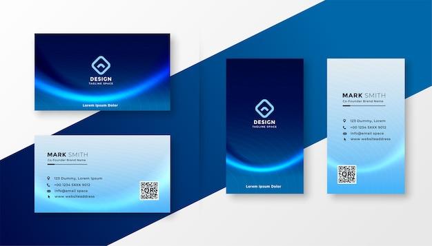 Biglietto da visita professionale blu astratto con effetto onda Vettore gratuito
