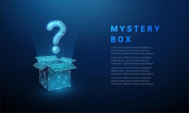 열기 상자에서 비행하는 추상 파란색 물음표. 낮은 폴리 스타일 디자인. 프리미엄 벡터