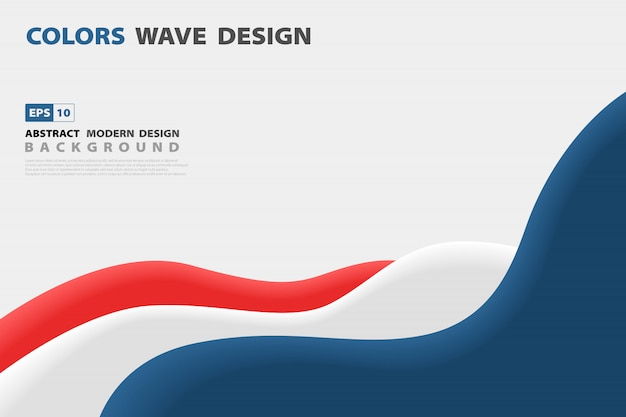 Abstract blue and red contrast wavy business design template background. Premium Vector