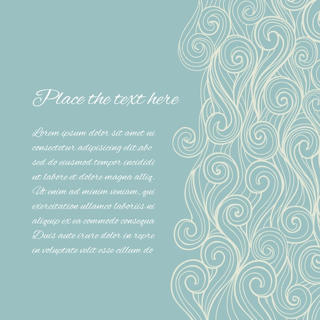 Abstract blue sea wave template with copyspace Free Vector