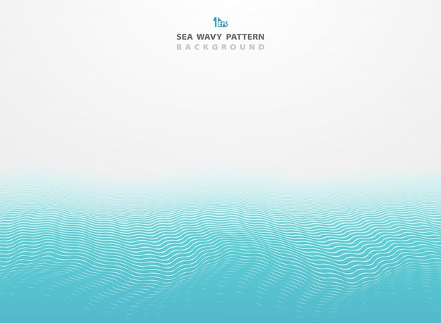 Abstract blue sea wavy pattern stripe lines background. Premium Vector