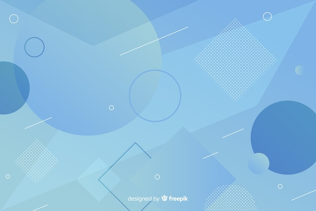 Abstract blue shapes background in memphis style Free Vector