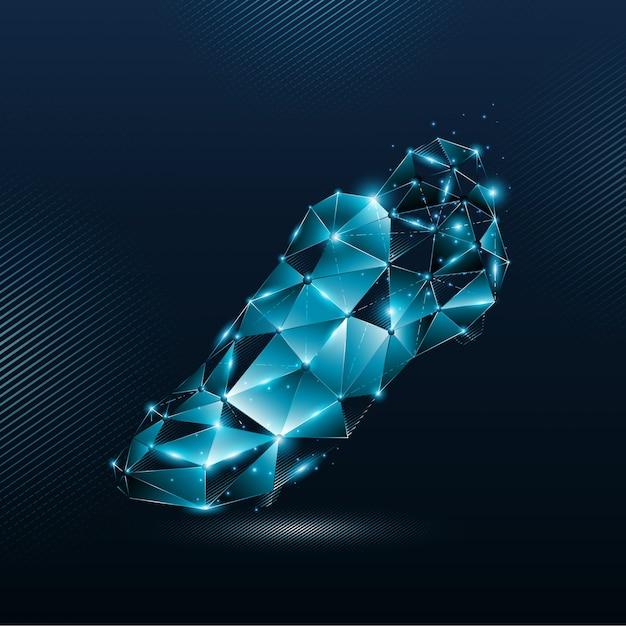 Абстрактные синие футбольные бутсы из линий и сияющих частиц точки соединительной сети Premium векторы