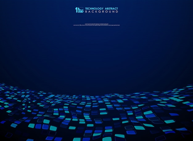 Abstract blue square flying design of technology background. Premium Vector