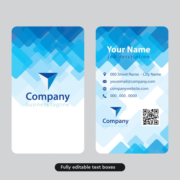 Abstract blue squares business card design Premium Vector