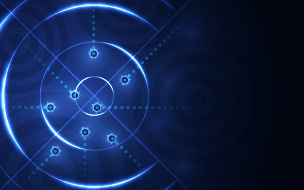 Abstract blue target, shooting range on black background. shooting target success solution Premium Vector