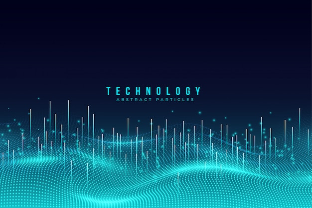Abstract blue technology particles background Premium Vector