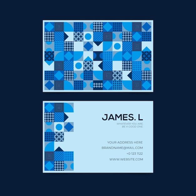 Abstract blue theme for business card template Free Vector