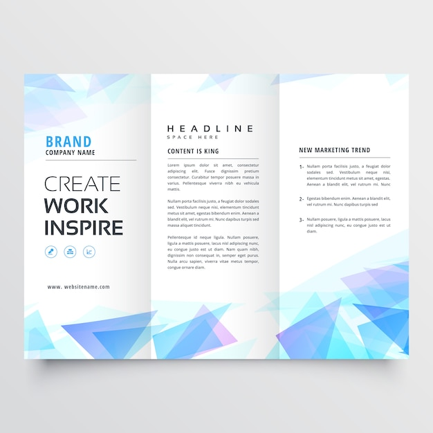 Abstract blue triangle trifold brochure design Free Vector