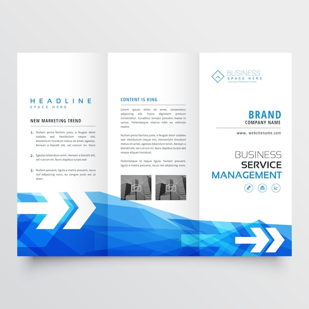 Abstract blue trifold business brochure design Free Vector