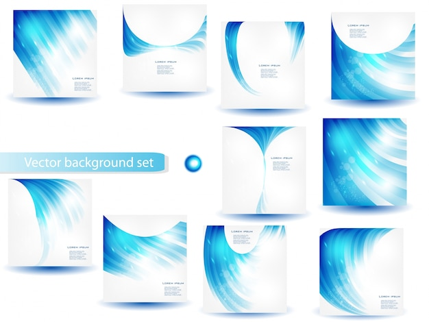 Abstract blue vector template and set Free Vector