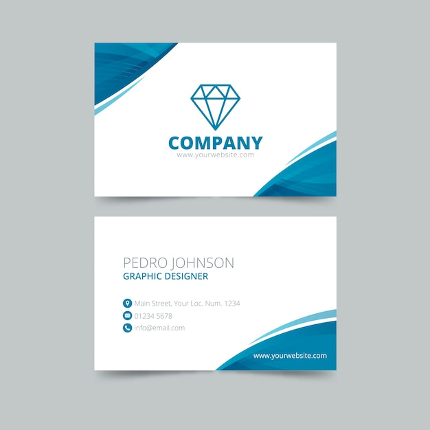 Abstract blue visiting card template Free Vector