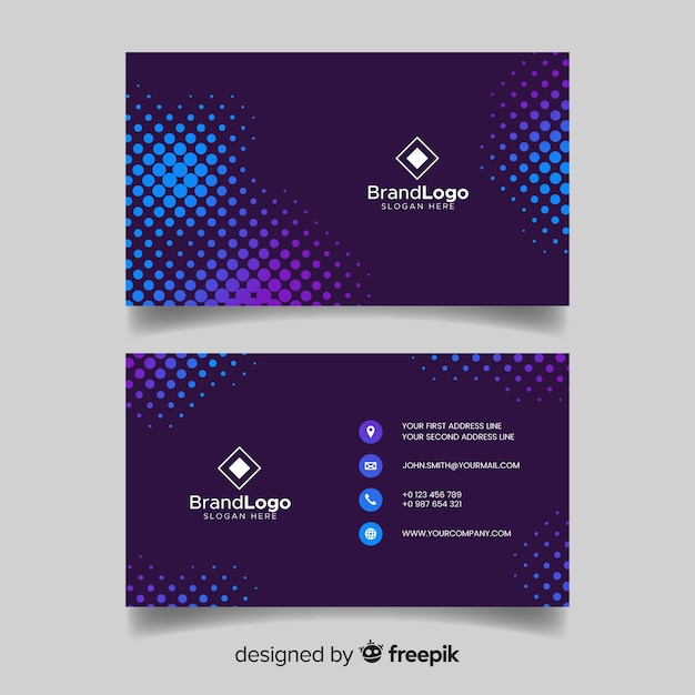 Abstract blue visiting card with logo Free Vector