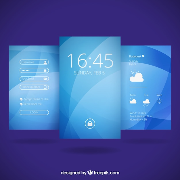 Abstract blue wallpapers for mobile Free Vector
