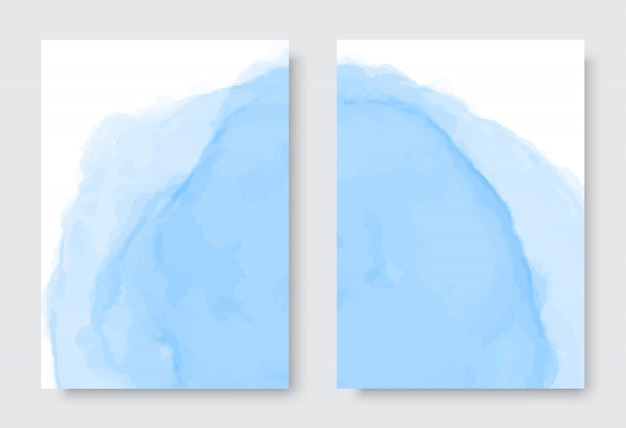 Abstract blue watercolor background set Premium Vector