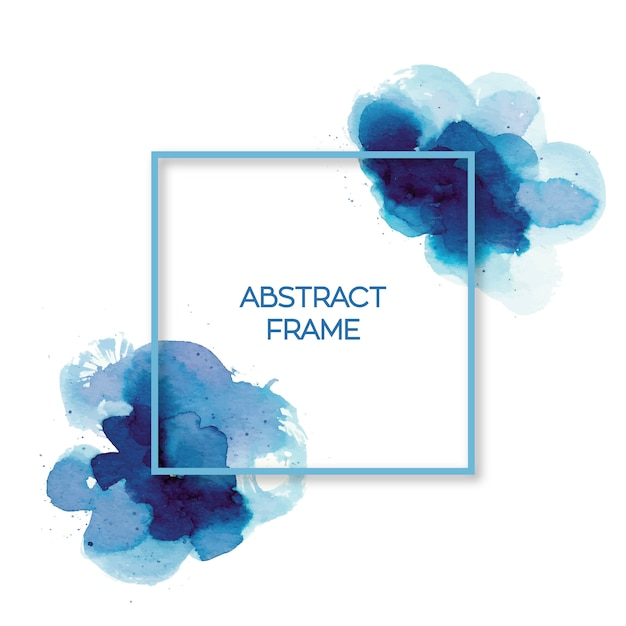 Abstract blue watercolor frame Free Vector