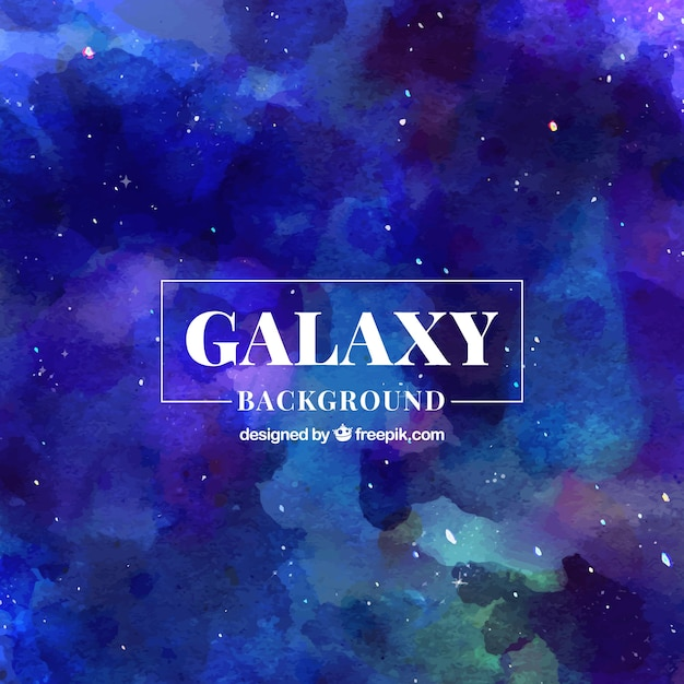 Abstract blue watercolor galaxy background