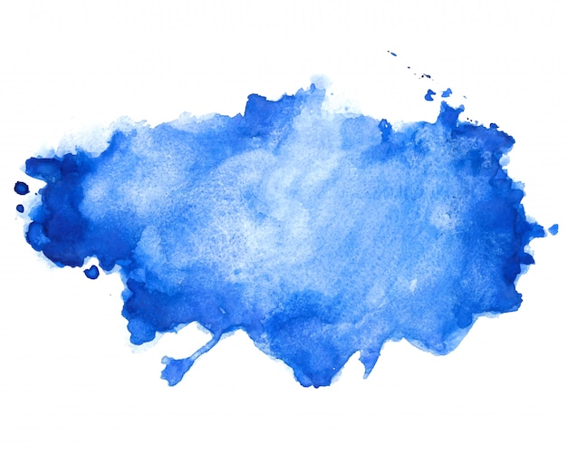 Abstract blue watercolor stain texture background design Free Vector