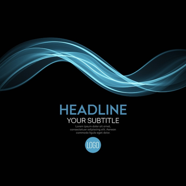 Abstract blue waves black background Premium Vector