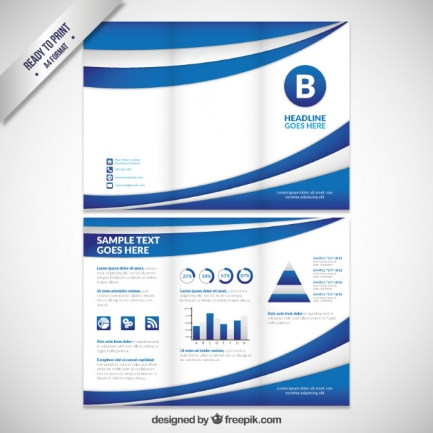 Abstract blue waves tri fold brochure Free Vector