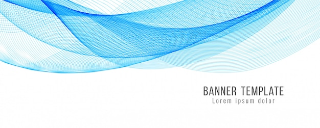 Abstract blue wavy banner template design Free Vector