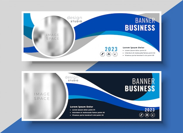 Abstract blue wavy business banner design Free Vector