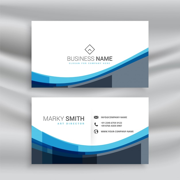 Abstract blue wavy lines business card template Free Vector