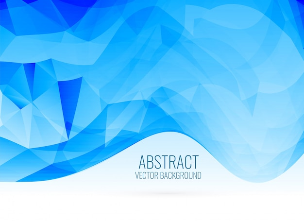 Abstract blue wavy shape triangle background Free Vector