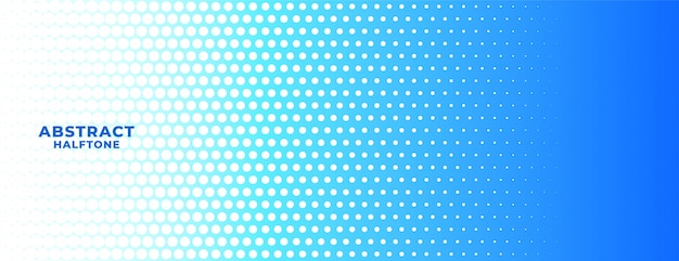 Abstract blue and white halftone wide background banner Free Vector