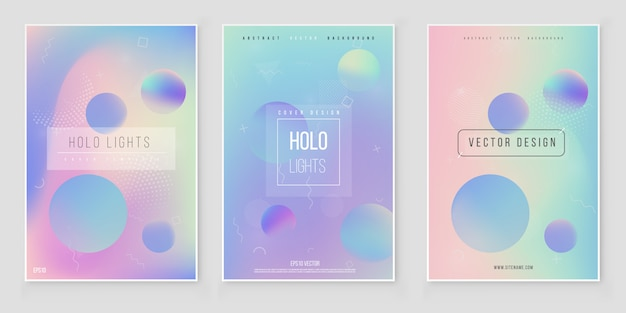 Abstract blurred holographic gradient  background set modern minimal design. holographic foil vector Premium Vector