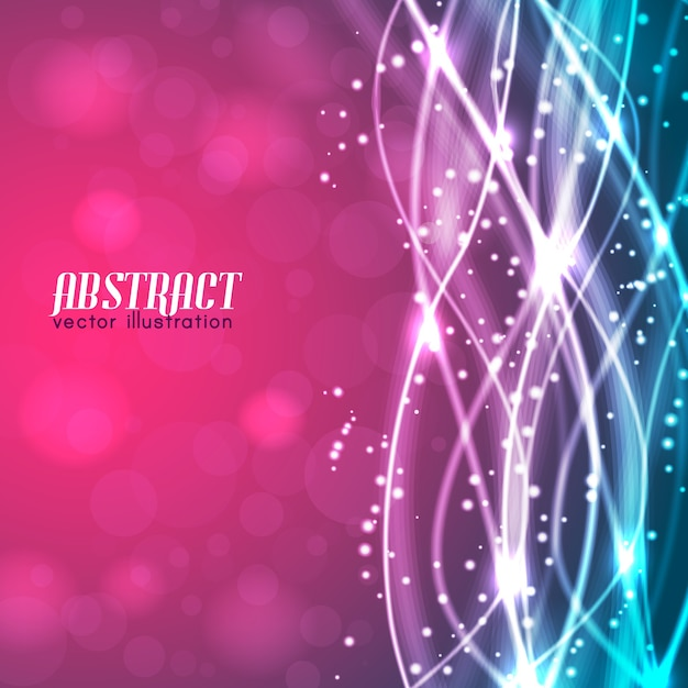 Abstract blurred pink and blue background with text and glowing white threads and sparkles Free Vector