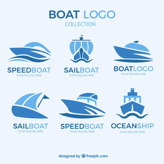 Abstract boat logo collection Free Vector