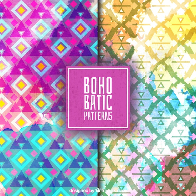 Abstract boho patterns painted with watercolor Premium Vector