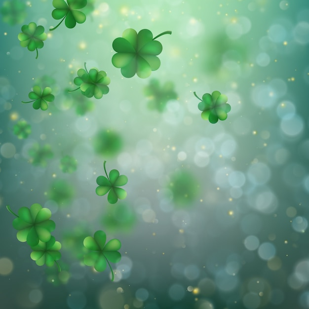 Abstract bokeh blur template with - trifolium clovers. Premium Vector