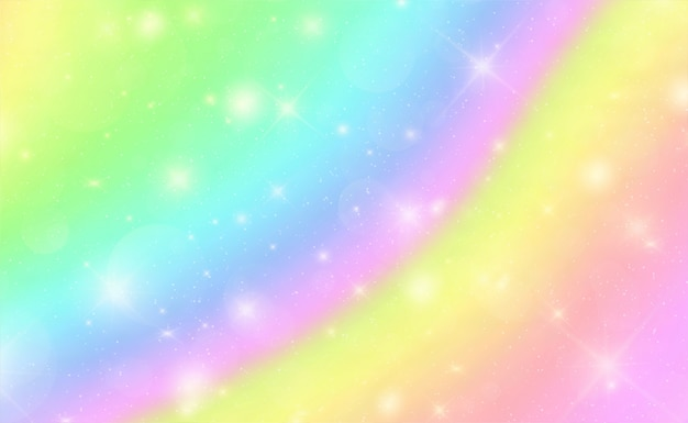 Abstract bokeh marble rainbow background with stars Premium Vector