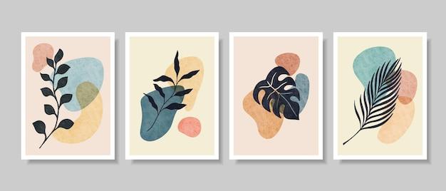 추상 식물 벽 예술, 잎, Boho 분기 식물 프리미엄 벡터