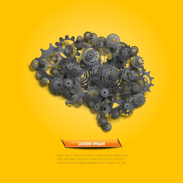Abstract brain function system illustrated by realistic abstract gears and cogs Premium Vector