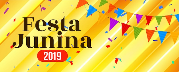 Abstract brazil festa junina festival banner Free Vector